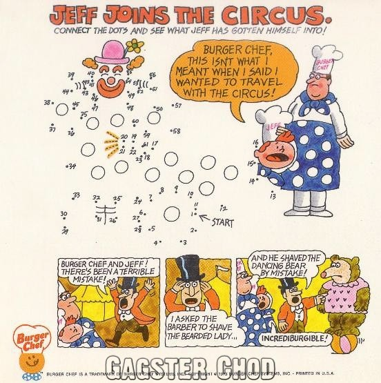 Burger Chef and Jeff Circus Theme Funmeal Connect-the-Dots Game.
