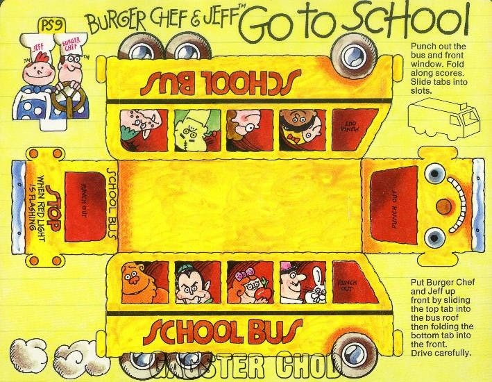Burger Chef and Jeff: Go To School Theme Funmeal School Bus Cut-Out.