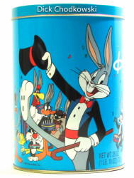 Front of Brachs Candy canister issued celebrating Bug Bunny's 50 Birthday with Bugs and other cartoon characters sporting Bugs Bunny Ears.