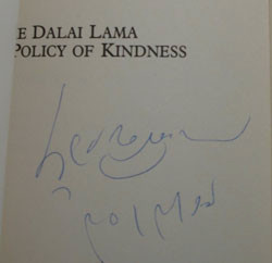 Signature of DalaiLama on title page of his book.