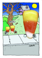 "Candy Corn trick or treating. One tells another ""Steroids"" when they spot a big candy corn across the street."