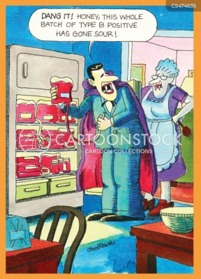 An upset vampire looking into a refrigerator filled with containers of blood while telling his vampire wife that all the type B has gone sour.