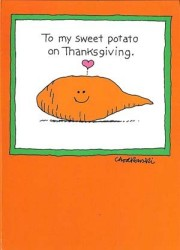 "Cartoon of a sweet potato saying: ""To my sweet potato on Thanksgiving."""