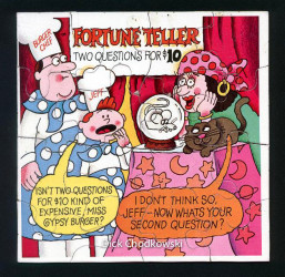 Put this puzzle together and see Jeff and Burger Chef visiting the Fortune Teller, Miss Gypsy Burger.