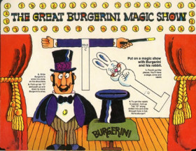 Punch-out of the Great Burgerini and his magic rabbit to work with his stage show.