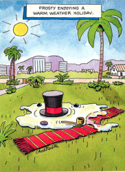 Cartoon. Somewhere in the sun belt, under palm trees, we see a scarf, a top hat, pipe, buttons and puddle.