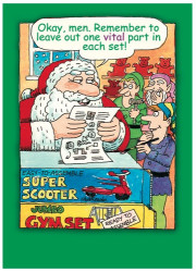 "Cartoon of Santa Claus telling his elves to leave out one vital part in each set of ""ready to assemble"" toys."