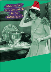 "A woman festively dressed and wearing a santa hat is using a silver ladle to taste what's in the big silver bowl. The woman asks, ""Who the hell put the punch in my vodka bowl?"" The cover has a green tint."