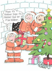 """Inside their igloo, Eskimo parents watch as their young son shakes his Christmas present and thinks, """"Hope it's blubber...God, let it be blubber."""""""