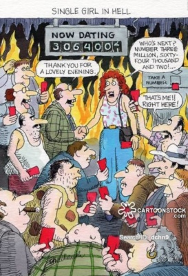 Cartoon of single woman in hell, surrounded by nerdy-looking men waiting to date her.