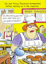 Cartoon of man in bakery asking for a handful from a female baker with a tray of fresh sweetbuns.