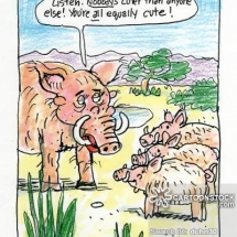 Funny Mother's Day Cartoon of a mother warthog assuring her three children that they're all equally cute!