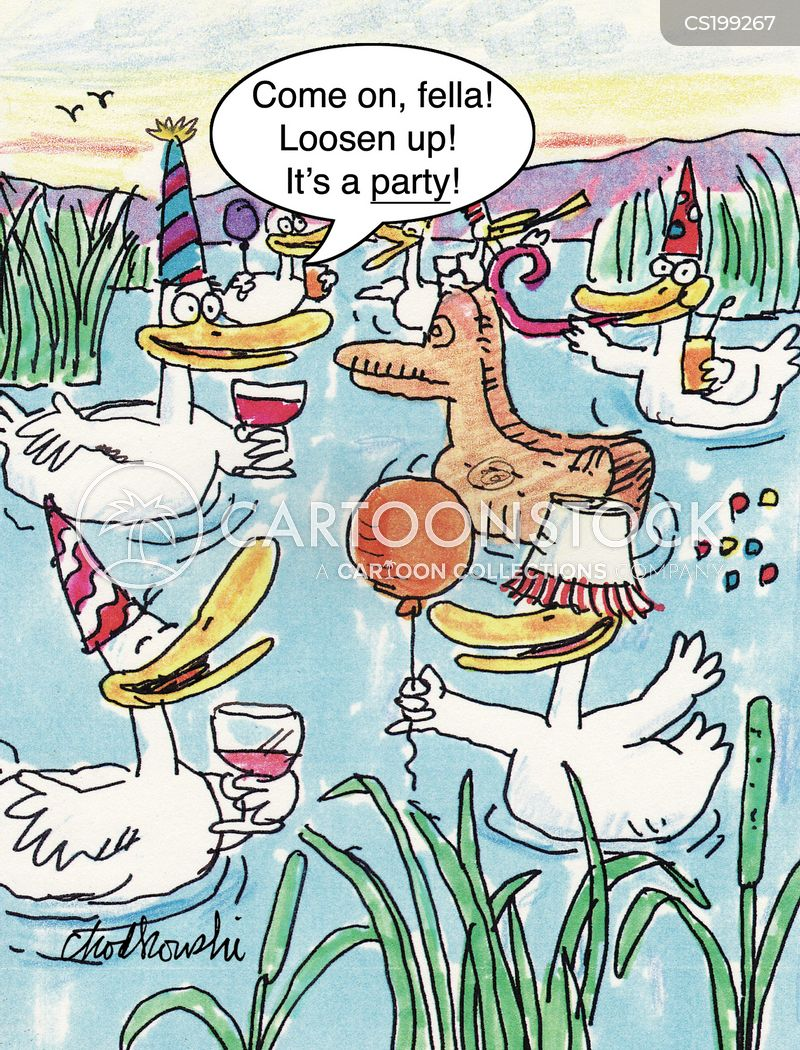 ducks in a pond having a party. They have balloons, party hats, mixed drinks. A wooden duck sits there, too. One of the other ducks is telling him to loosen up. It's a party.