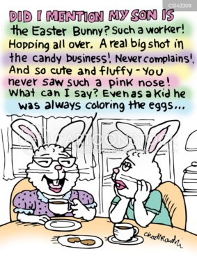 """Over coffee with a friend, a mother rabbit is bragging about her son, """"the Easter Bunny."""" He works hard and is so good with colors. Her friend looks incredibly bored. Mother's Day humor, fun."""
