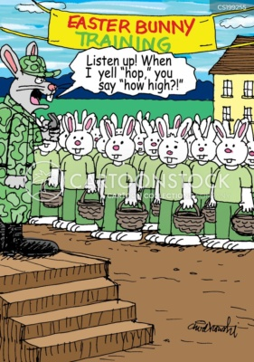 A sergeant rabbit is instructing the rabbit troops who are standing at attention. The troops have empty Easter baskets in hand.