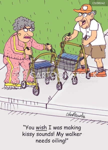 A man and a woman, both senior citizens, using walkers run into each other on a sidewalk. The man tells the woman she wishes he was making kissy sounds.