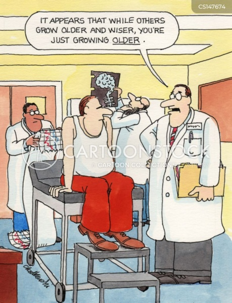 """Middle-aged man getting medical check-up in Doctor's office. The Doctor says """"It appears that while others grow older and wiser, you're just growing older""""."""