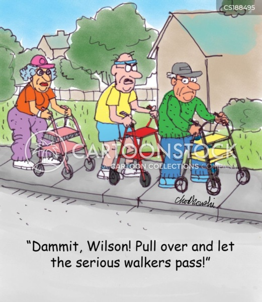 Three senior citizens in a row, use walkers to move down the sidewalk. Frustrated, by the pace, the man in the middle tells the front man to pull over and let serious walkers pass.
