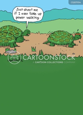"""turtles are walking along dirt road. The one in front is wearing a sweat band and hustling. Observing this, one of the turtles behind says to a third, """"Just shoot me if I ever take up power walking."""""""