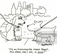 "Cartoon of two dogs, in the park. One is lugging around an ""Environmental Statement."""