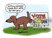 "A dog is peeing on a ""Vote for"" sign posted in a yard while thinking, ""Nothing personal. I could still vote for the guy."""
