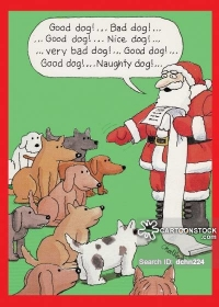 Santa telling a group of dogs who has been good and who has been naughty.