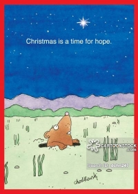 "A prairie dog is peering up from his burrow to see a star shinning bright. Written in the sky, ""Christmas is a time for hope."""