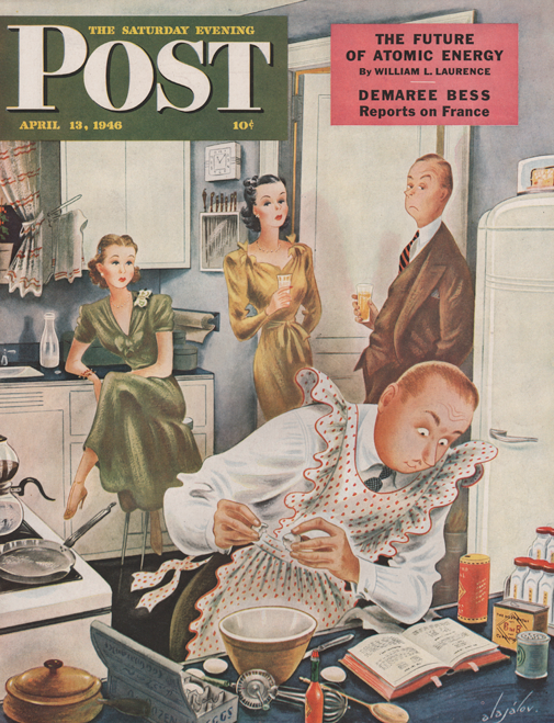 Constantin Alajalov illustrated the Saturday Evening Post depicting a man cooking dinner while women watch one.