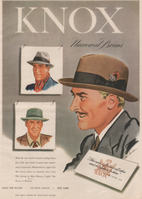 Vintage ad for Knox narrowed brims hat.
