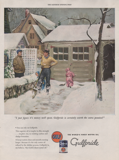 """1945 vintage ad for Gulf oil. Two chilren shoveling snow while two men chat. Caption under illustration is """"I just figure it's money well spent. Gulfpride is certainly worth the extra pennies!"""""""
