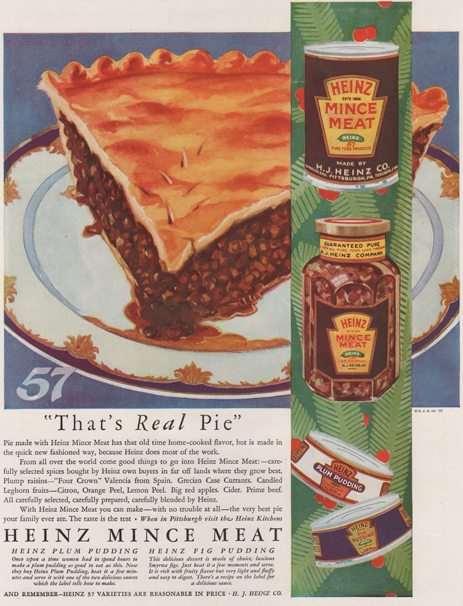 Advertisement from 1927 showing a mince meat pie on a plate. Heinz Jars of Mince meat are layout on the left. Text on bottom. Full page ad.