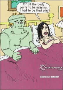 Frankenstein is in bed with a female vampire. She is commenting that of all the parts that had to be missing, it had to be that one.