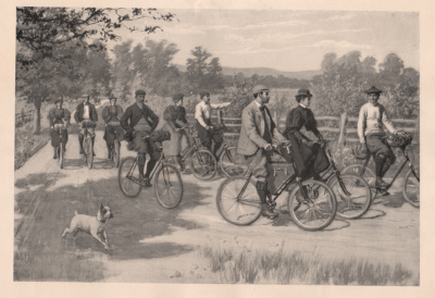 Bicycling in a group drawn by A.B. Frost