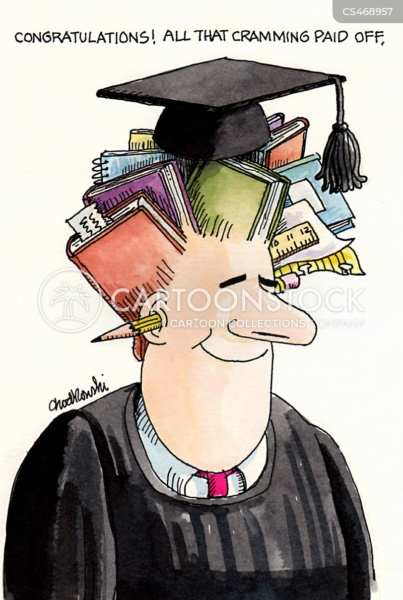 The graduate has books growing out of his head and topped by his mortarboard.