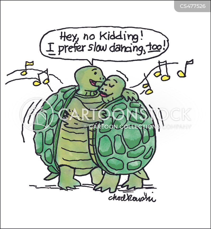 Two turtles are dancing close. The male is assuring the female that he prefers slow dancing, too.