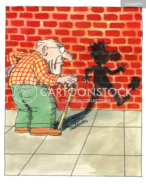 While walking an elderly man sees his shadow. His shadow is of him as a young boy blowing a bubble gum bubble and playing kick the can.
