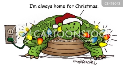 """A smiling turtle decked out in Christmas decorations saying, I'm always home for Christmas."""""""