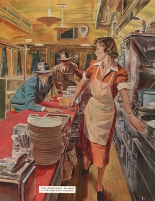 Robert Fawcett - Illustration of waitress