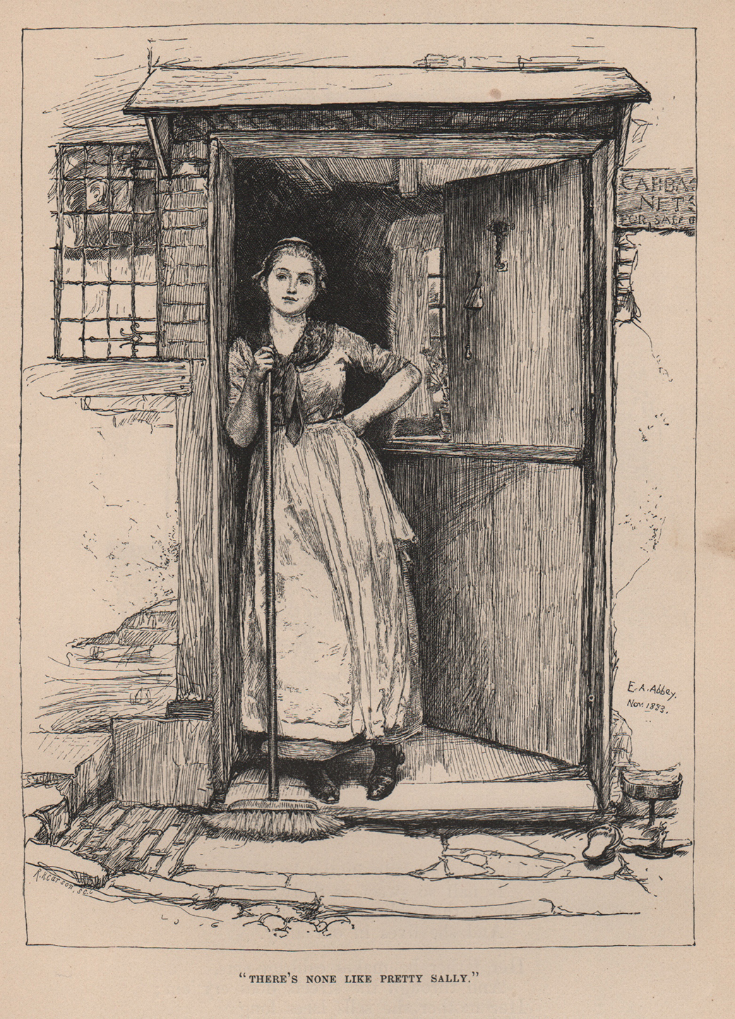 Pen and ink by Edwin Abbey. Sally looking out from a doorway. 1883.