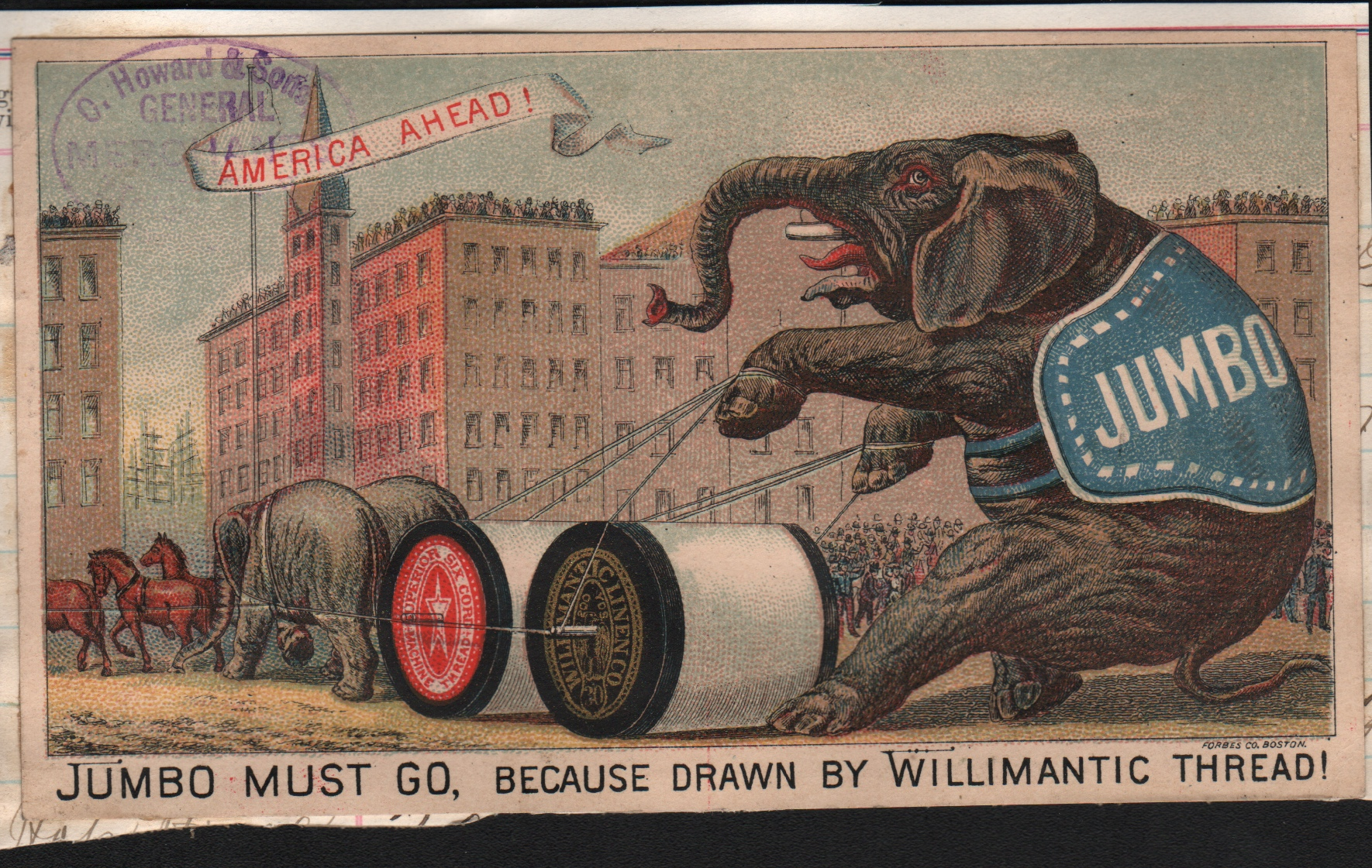 Manufacturers of spool thread loved to brag about the strength of their product. Elephant being lassoed with thread.
