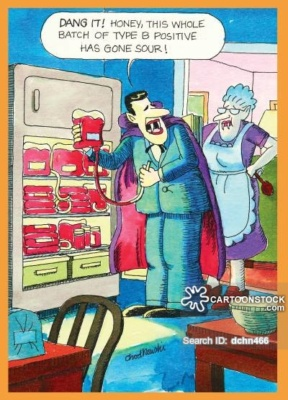 A vampire has the refrigerator open. It's filled with containers of blood. His wife is behind him and he's explaining at the blood is spoiled.