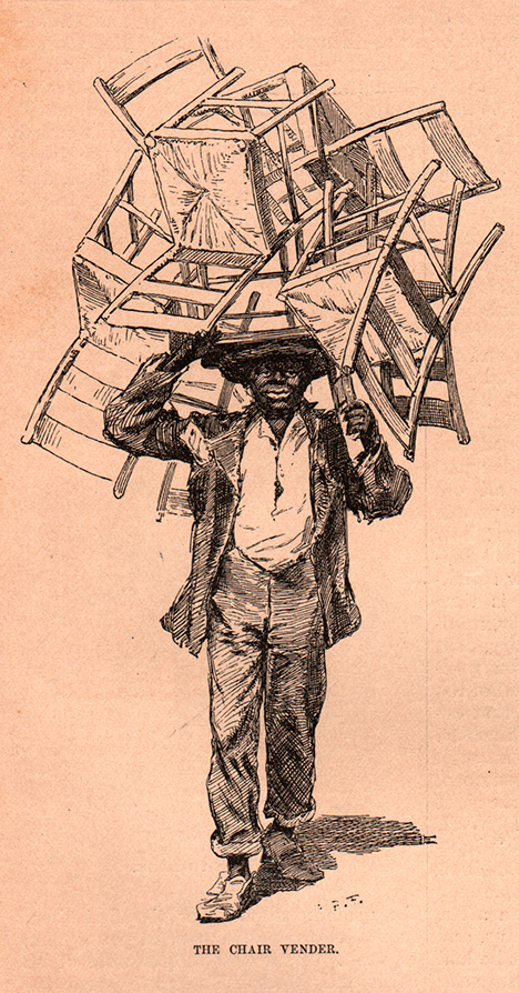 The Chair Vendor, 1879 drawn by A.B. Frost. Atlanta
