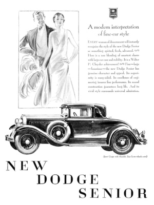 Simple line art and dry brush technique by John Gannam for 1929 New Dodge Senior Ad