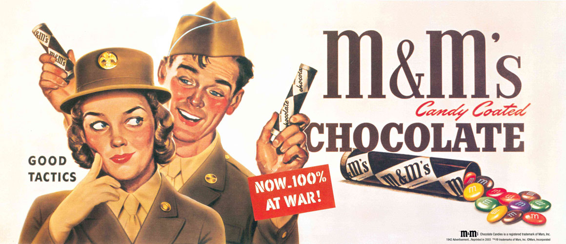 M&M's Candy Coated Chocolate ad from 1942 showing two military dressed man and woman.