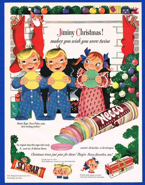 Necco candy Christmas advertisement showing illustration of three children in fron to f fireplace holding large Necco wafers.