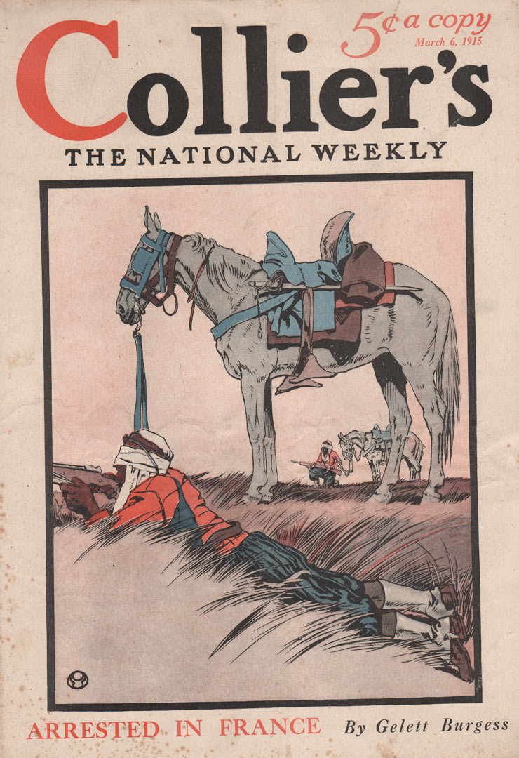 Cover of Colliers March 6, 1915 showing a man on the ground aiming a rifle. His horse standing above him.