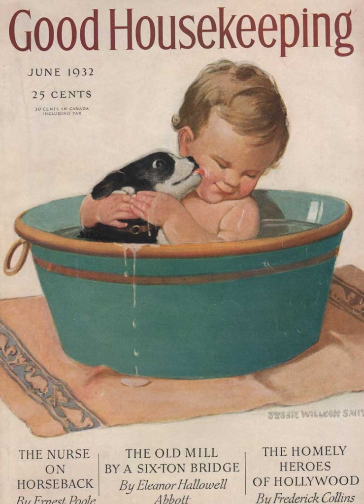 Good Housekeeping, June 1932 shows a baby and puppy in a wash bin. Illustrated by Jessie Wilcox Smith.