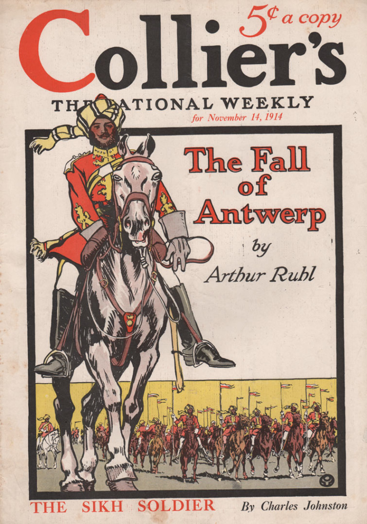 Collier's Cover by Edward Penfield November 14, 1914. Showing the sikh soldier on horseback ahead of a large army of sikh soldiers.