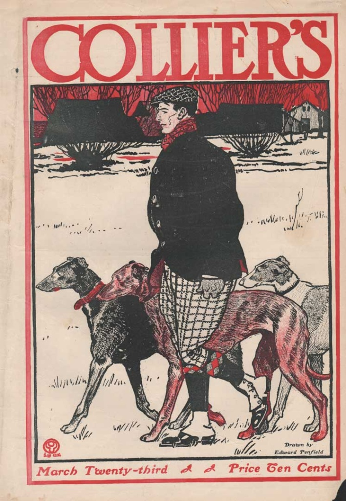 Collier's Cover March 23, 1907. Showing a man walking 3 greyhounds. Drawn by Edward Penfield.