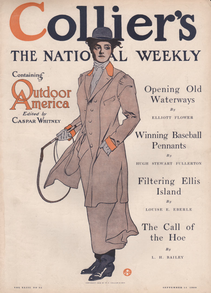 Collier's cover shows woman in riding attire holding a whip.